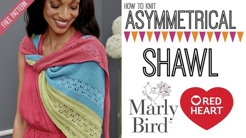 Asymmetrical Knit Shawl with It's a Wrap Yarn