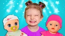 Tim and Essy play with Baby Dolls Collection video for kids