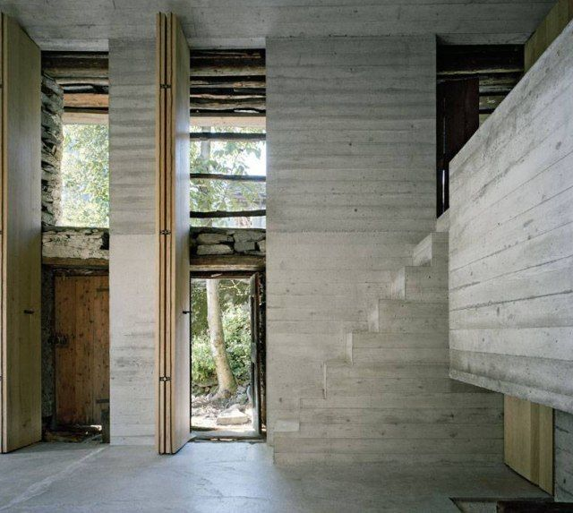This 200 years old House in Linescio, Switzerland, was renovated exclusively from the inside, in 2011, by Buchner Bründler Architekten