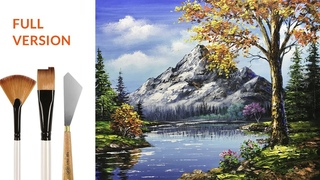 Challenge #18 Autumn lakes scene, mountain landscape, acrylic painting