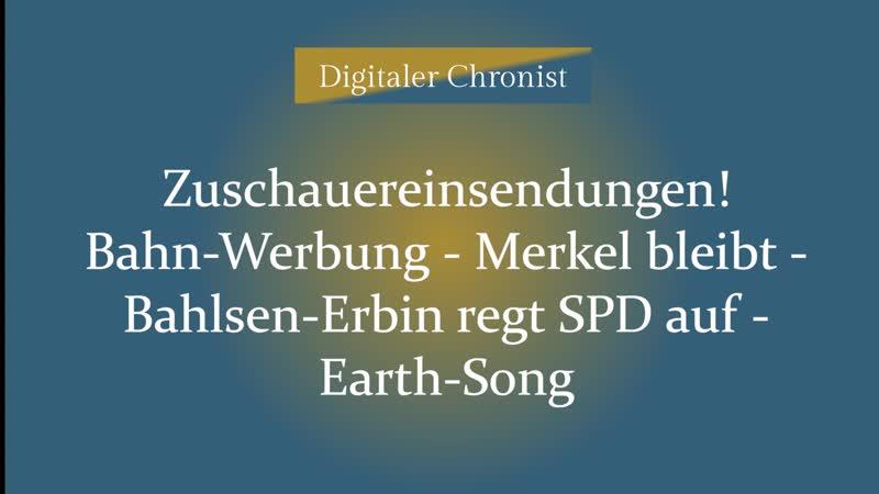 Bahn Werbung Merkel bleibt Bahlsen Erbin regt SPD auf Earth Song