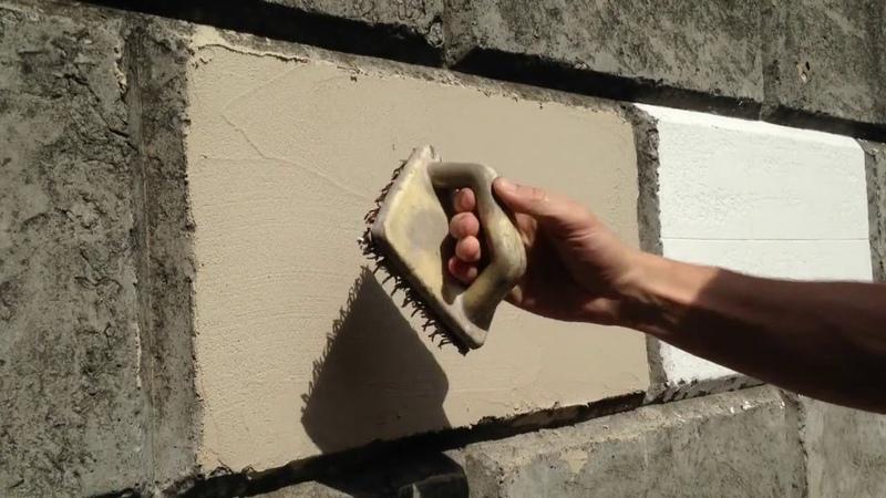 Отделка фасада декоративной штукатуркой под камень (травертин)