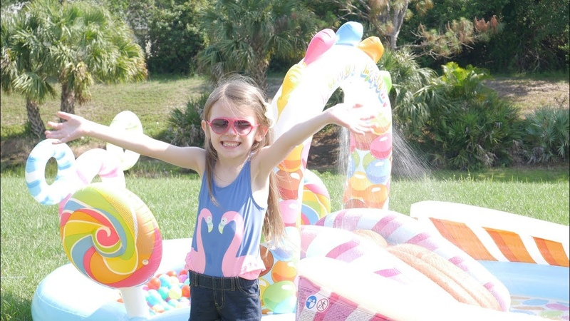 Intex Candy Zone Pool Review - Water Fun Pool For Toddlers and Kids! Ballpit Sprinkler Slide!