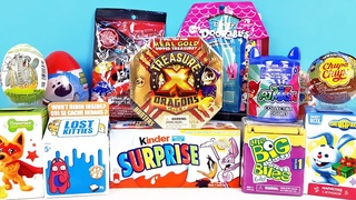 15 Киндер Сюрпризов,Unboxing Kinder Surprise TREASURE X Dragon Gold,Little Big Bites,PJ Masks,Disney