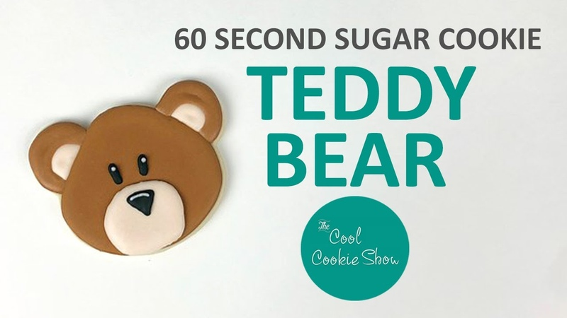 60 Second Sugar Cookie: Teddy Bear - Can Bearly Wait Baby Shower Cookies