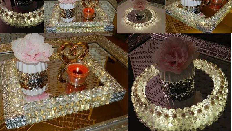 Dollar Tree DIY Diamonds and Pearls Vanity Trays| DIY Elegant Room Decor Ideas 2019