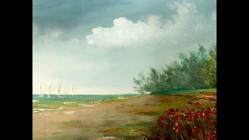 Как рисовать облака акрилом 1. How to paint the cloudy sky in acrylic.