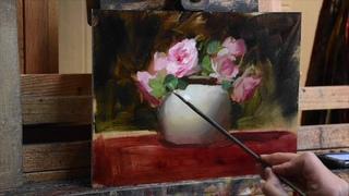 Pink Roses in Vase by Elizabeth Robbins