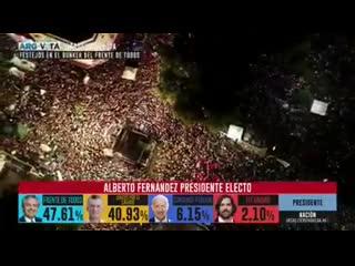 El pueblo argentino en las calles celebrando el triunfo de alberto fernández, #argentina le da un rotundo no al neoliberalismo.