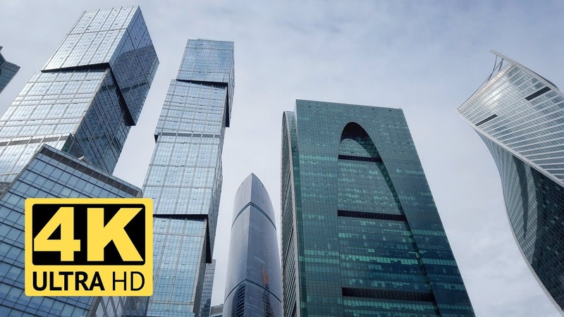 Business Center MIBC Moscow City and Hotel Ukraina Stalinist and modern architecture Empty city