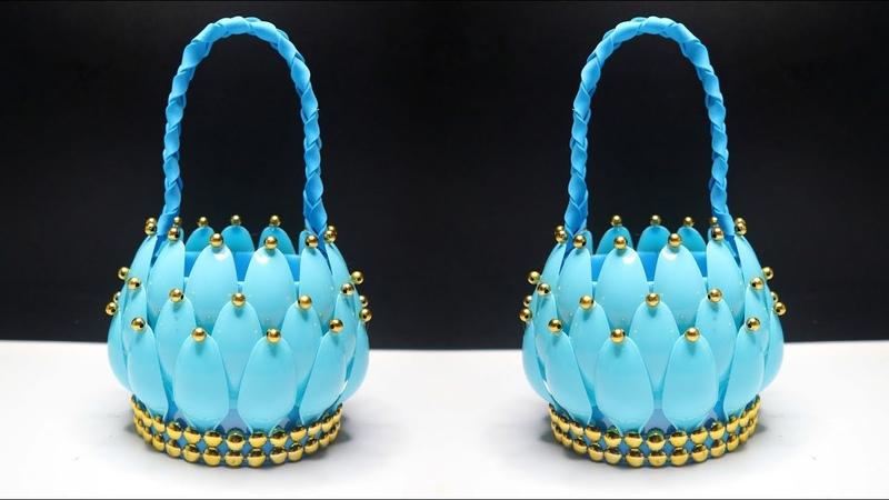 Ide kreatif Keranjang Cantik dari Botol Plastik bekas dan sendok plastik Egg basket