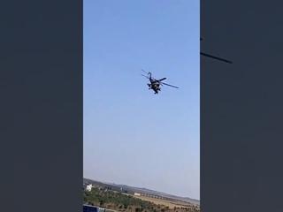 Вертолёт Ми 35М ВКС РФ  над территорией про турецких сирийских боевиков