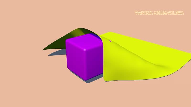 3Д РОЛИК Симуляция ткани Ткань падает на куб