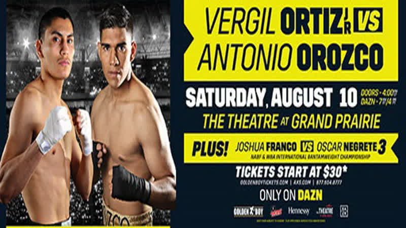 Бокс. Vergil Ortiz Jr. vs Antonio Orozco (Main Card). 10.08.2019