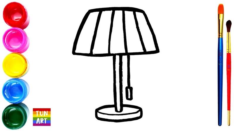 Draw and Color Rainbow Table Lamp Cara Menggambar dan Mewarnai Lampu Meja Pelangi untuk Anak anak
