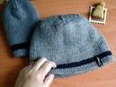 Вязание Готовая работа мужская шапка спицами полой резинкой Как я вяжу Обзор Планирую новый джемпер