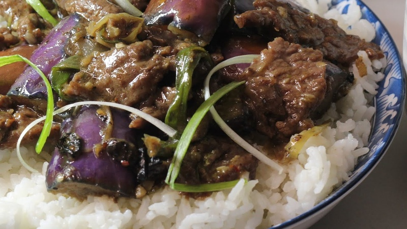Stir Fry Spicy Beef with Egg plant over Rice