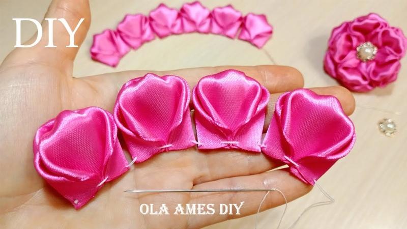 Я Влюбилась в эти ЦВЕТЫ Посмотрите как Красиво Получилось!! DIY Ribbon Flowers Ola ameS DIY