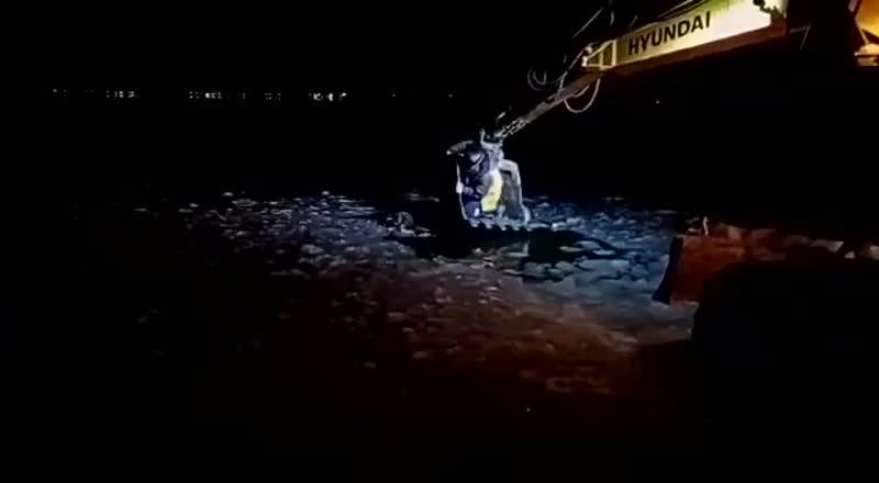 В Екатеринбурге строители с помощью экскаватора спасли собаку, провалившуюся под лед в озере Шарташ.