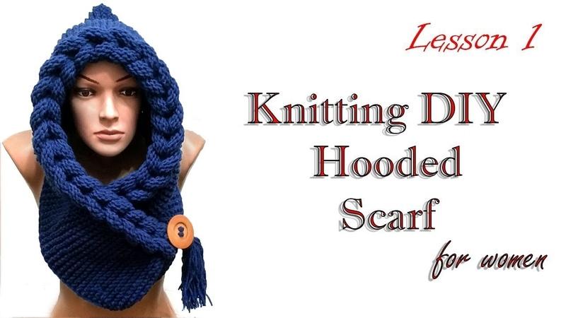 Knitting Шарф капюшон косичками МК 1 HUDED SCARF