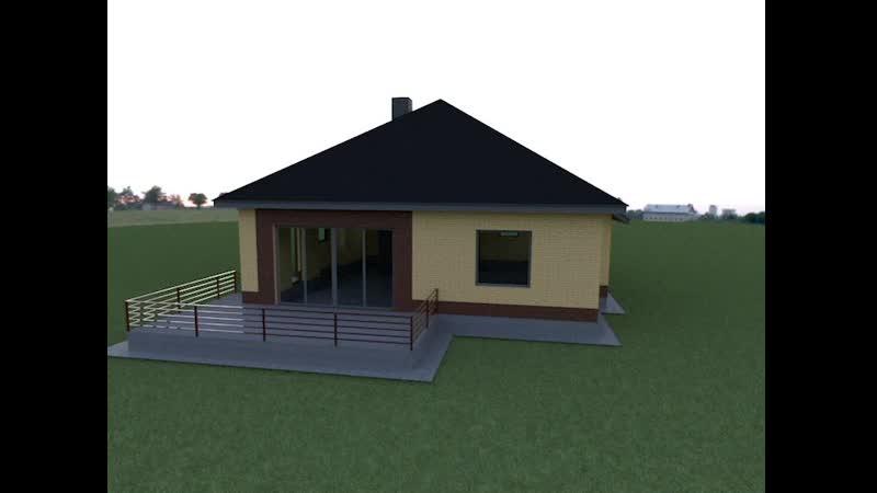 Визуализация дома «Марс» с кирпичным фасадом.