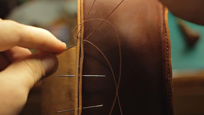 Пришивание боковушки портфеля