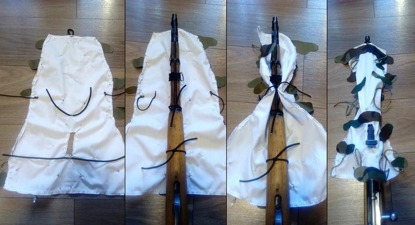 На винтовке чехол сидит в общем-то неплохо, если его завязать снизу. Не раскрывается от ветра, не съезжает ни в одну из сторон. Посмотри как поведёт себя на охоте или просто тренировке по стрельбе.