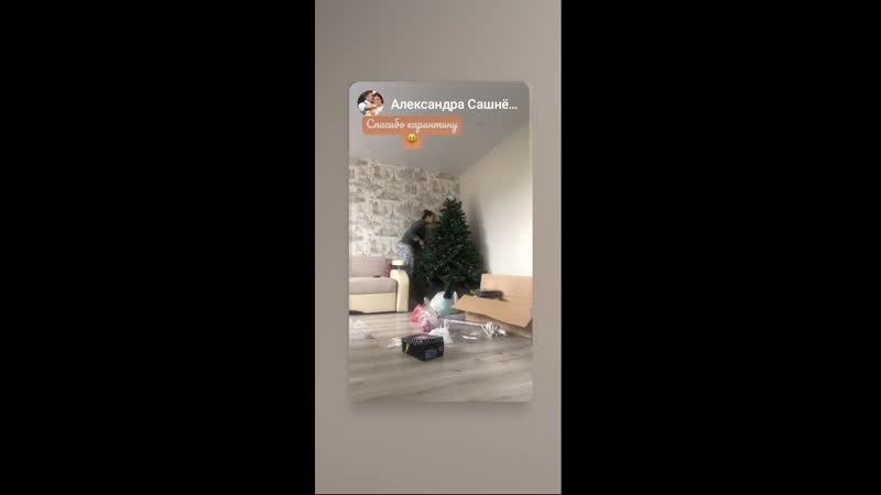 Александра и Илья разбирают елку во время самоизоляции