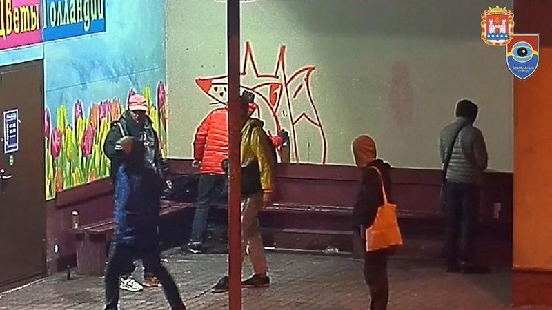 С помощью «Безопасного города» задержаны уличные хулиганы, разрисовавшие остановку