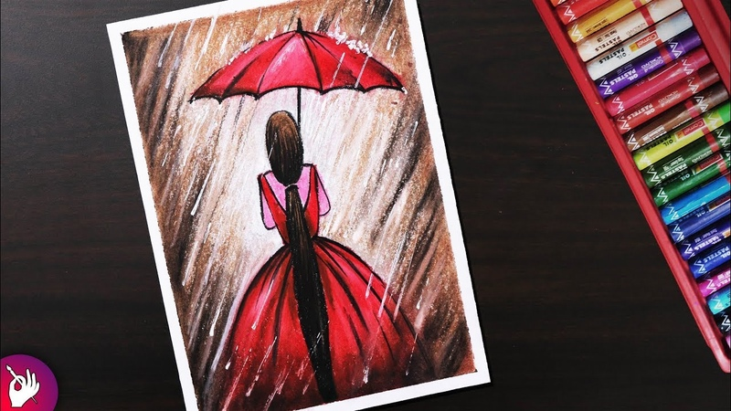 Rainy season scenery drawing for beginners with oil pastels Girl in Rain