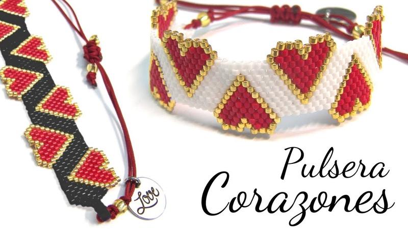 Pulsera de Corazones con Miyuki Delica Técnica Brick Stitch y Peyote