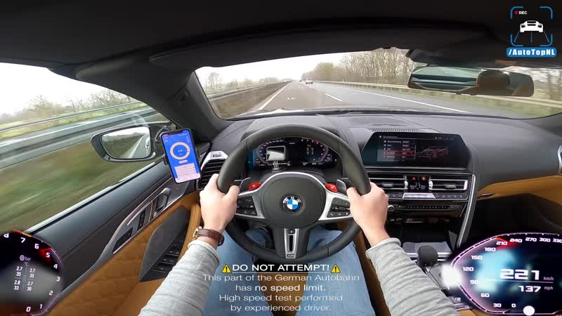 BMW M8 COMPETITION 310km h TOP SPEED POV on AUTOBAHN NO SPEED LIMIT by AutoTopNL