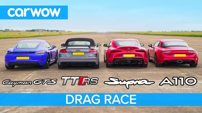 Supra vs Cayman GTS vs TT RS vs Alpine A110 - DRAG RACE, ROLLING RACE BRAKE TEST