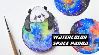 watercolor space panda