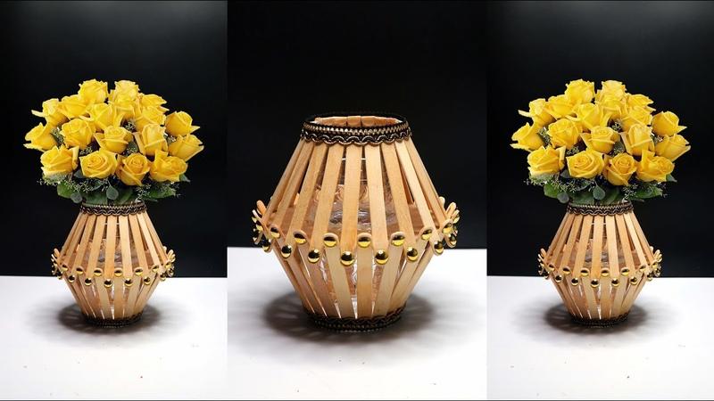 How to make flower vase with popsicle sticks Flower Vase DIY Best out of waste ideas