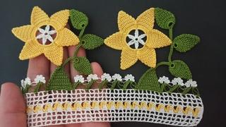 Tığ ile Çeyizlik Ağır ve Gösterişili Havlu Kenarı Sarı Çiçek Modeli (Youtube'de ilk kez)