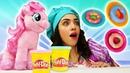 Литл Пони Пинки Пай помогает готовить пончики с Плей До! Игры в готовку для детей Готовлю игрушкам
