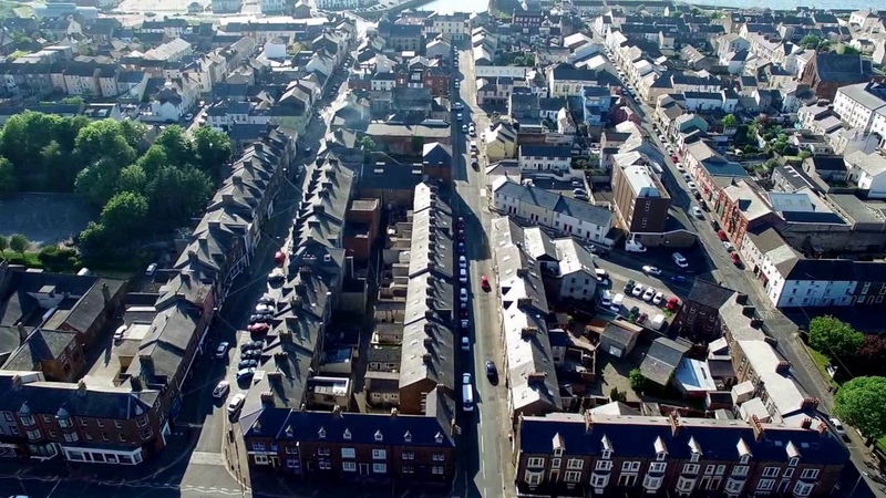 David Amphlett a drones view the town of Maryport Cumbria uk.