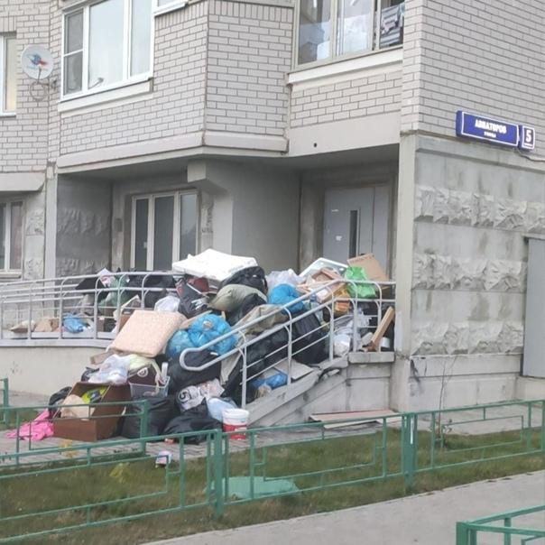 На улице Авиаторов, 5 управляющая компания устроила свалк...