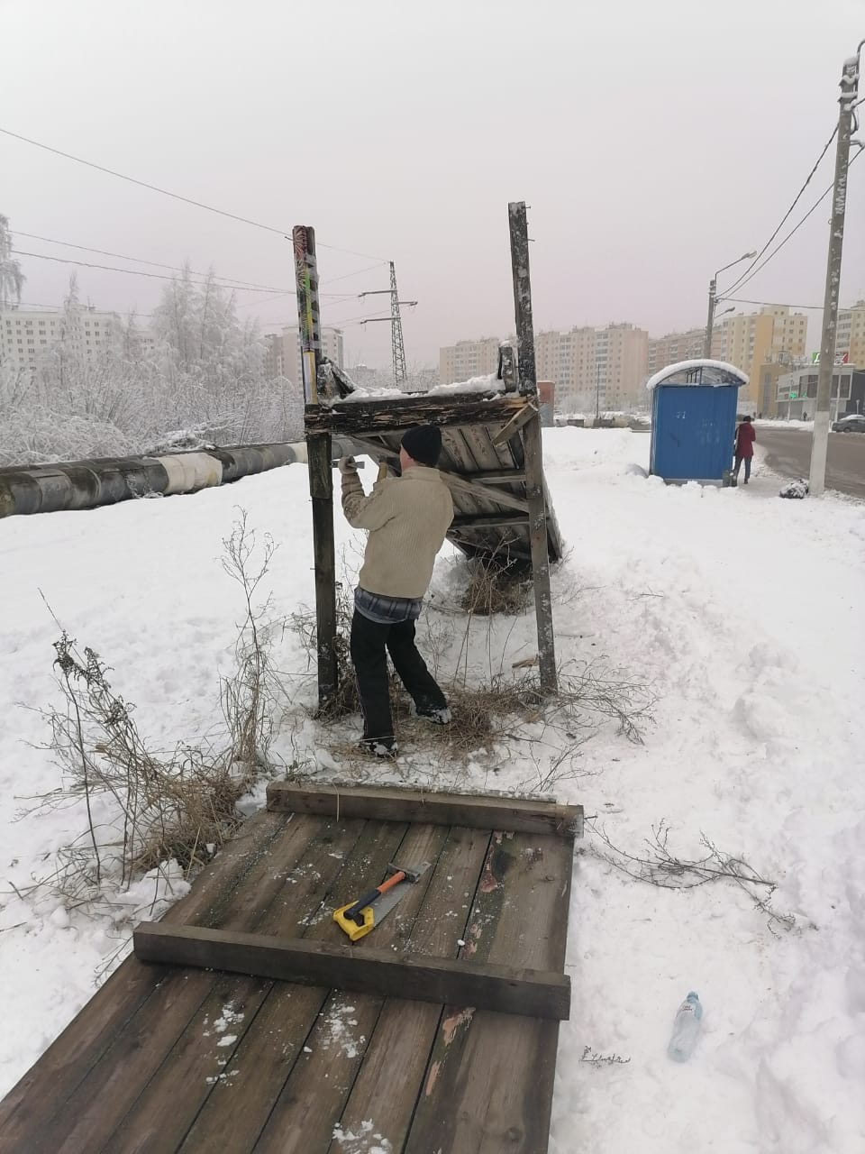 В Заволжском районе Твери демонтирована травмоопасная горка