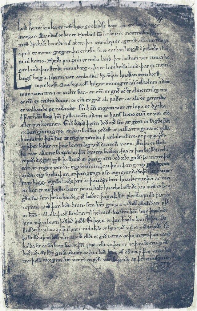 Фрагмент рукописи с текстом саги, книга Хаука, XIV век