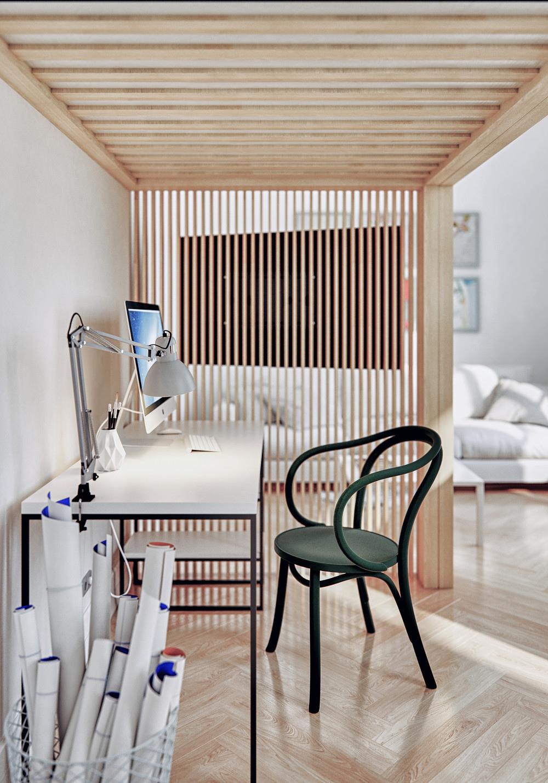 Интерьер квартиры-студии 30 м в Европе для студента.
