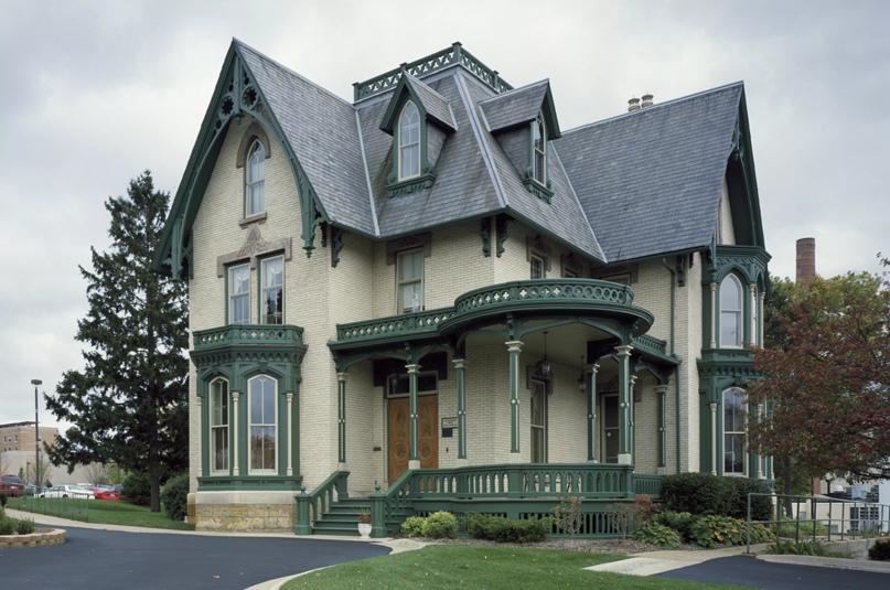Дом Лейк-Петерсон, 1873 год, дом в стиле возрождения готики из желтого кирпича в Рокфорде, штат Иллинойс