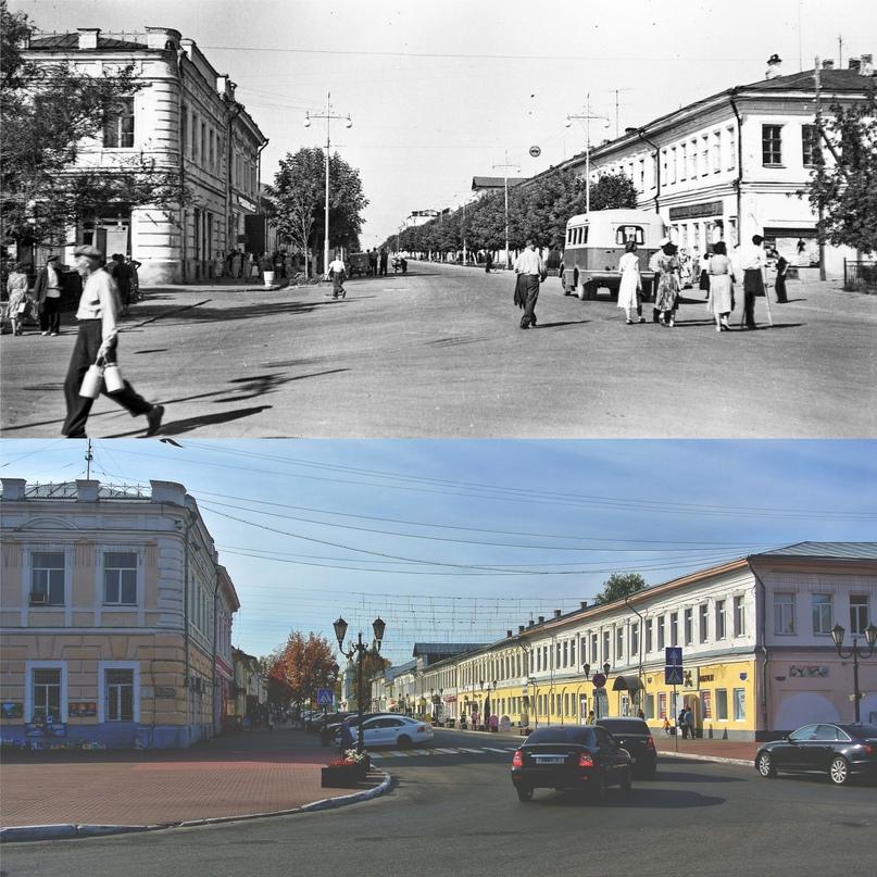 Вид на ул. Московскую с площади 1100-летия г. Мурома 1959-1961 гг. / 2020 г.