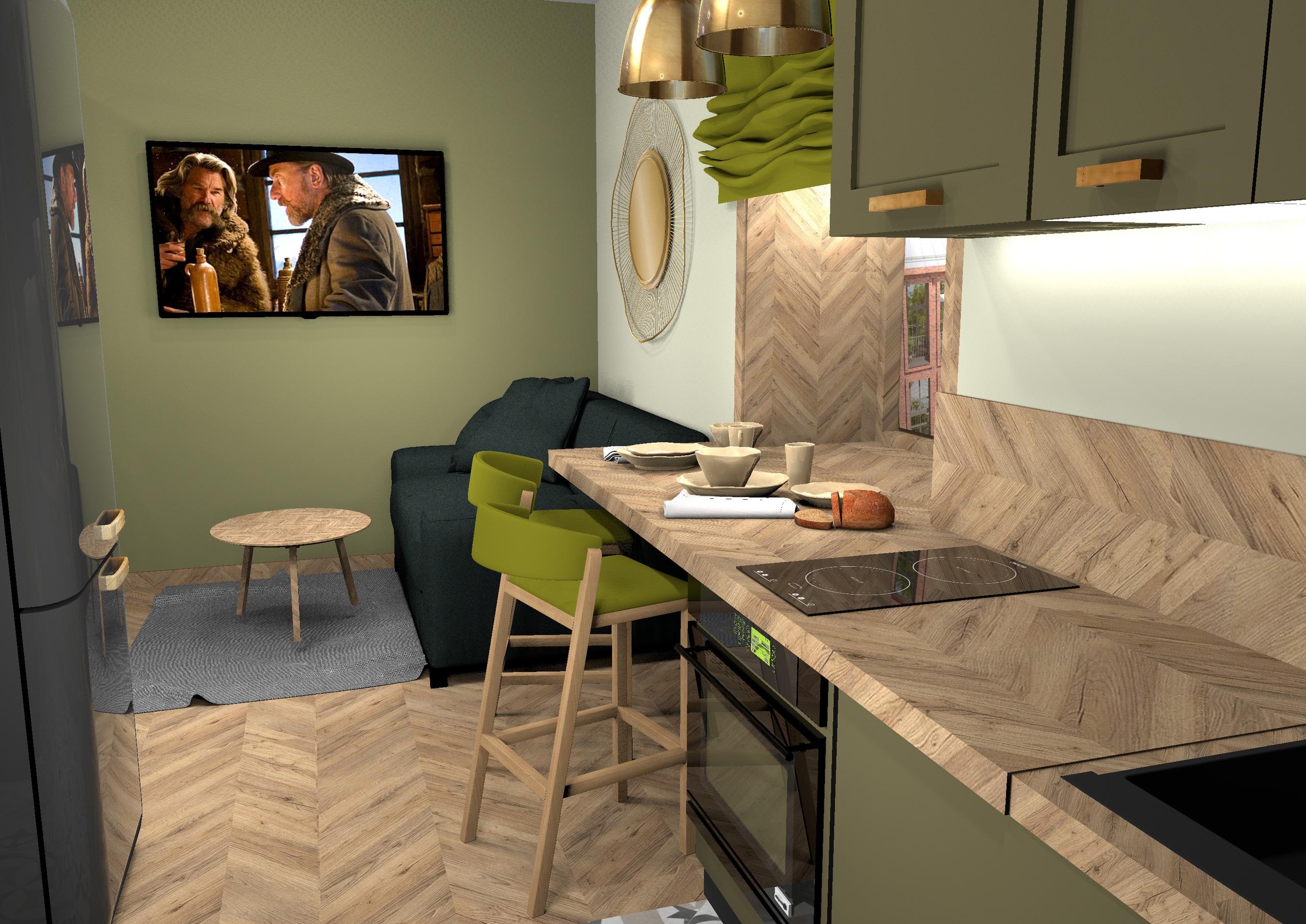 Проект реконструкции комнаты в общежитии в квартиру-студию 25,5 м/2.