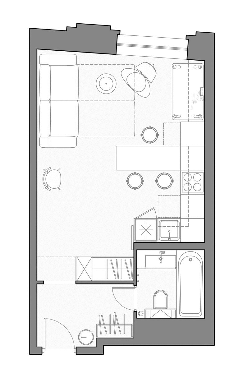 Проект квартиры-студии 33,5 кв.