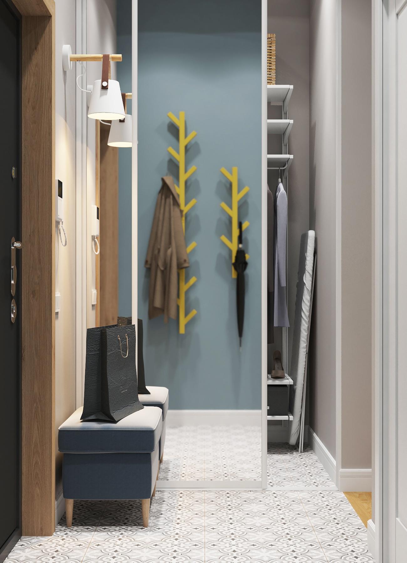 Дизайн-проект квартиры-студии 28 квадратных метров в Санкт-Петербурге для молодой пары.