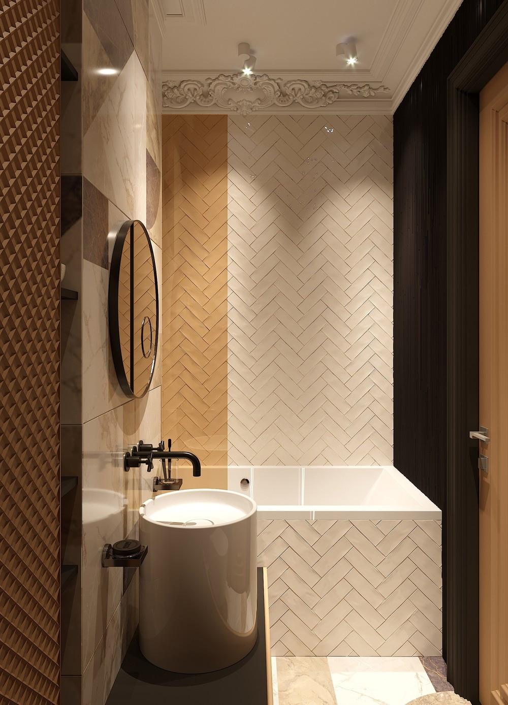 Дизайн-проект квартиры 29 м с элементами классики и ар-деко.