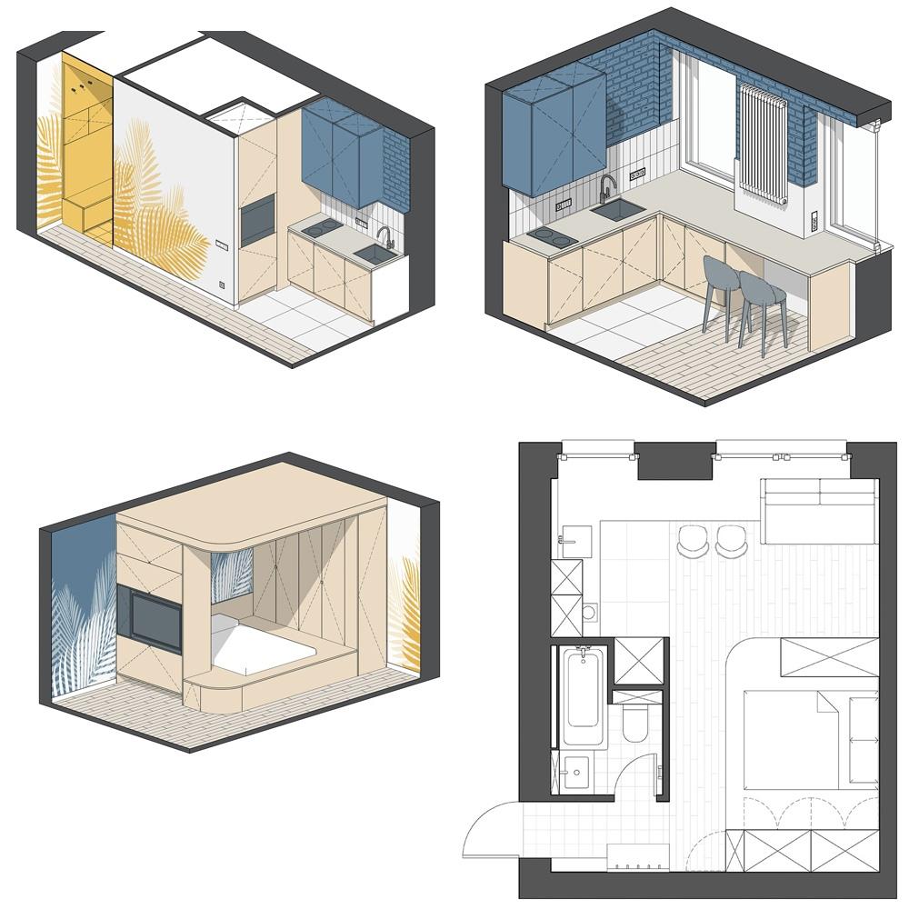 Компактная квартира 25 кв.