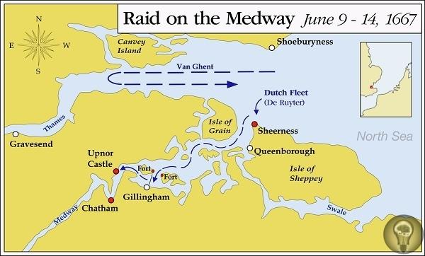 Голландский рейд на Темзу В XVII век англичане и голландцы соперничали за господство на море. Последние решились на неслыханную дерзость вторглись на остров и взяли Лондон в осаду. В 1667 году